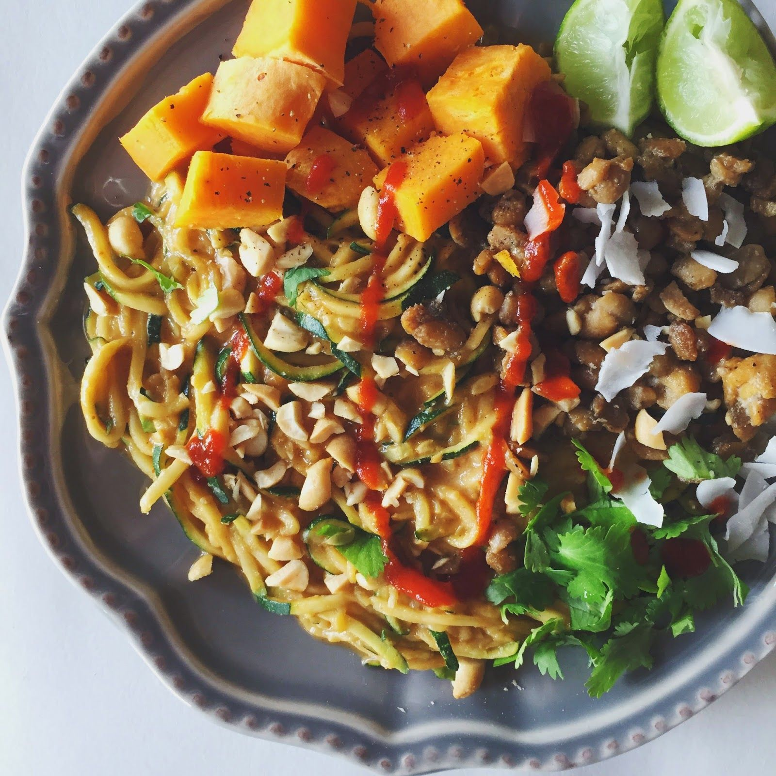 Garden Goddess Kitchen: Tempeh-Sweet Potato-Zoodle Plate with Spicy ...