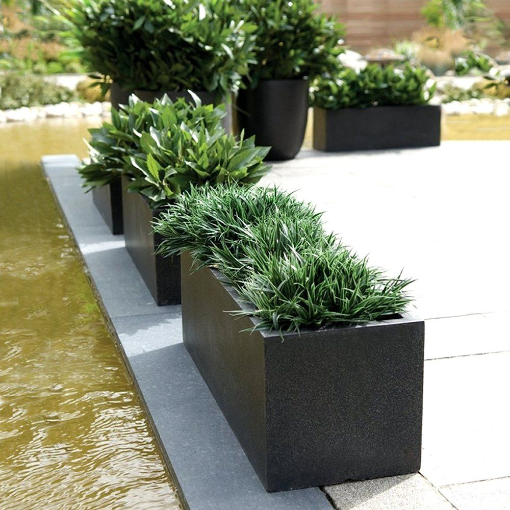 Modern Planters rectangular planters | cadix black low rectangular planters