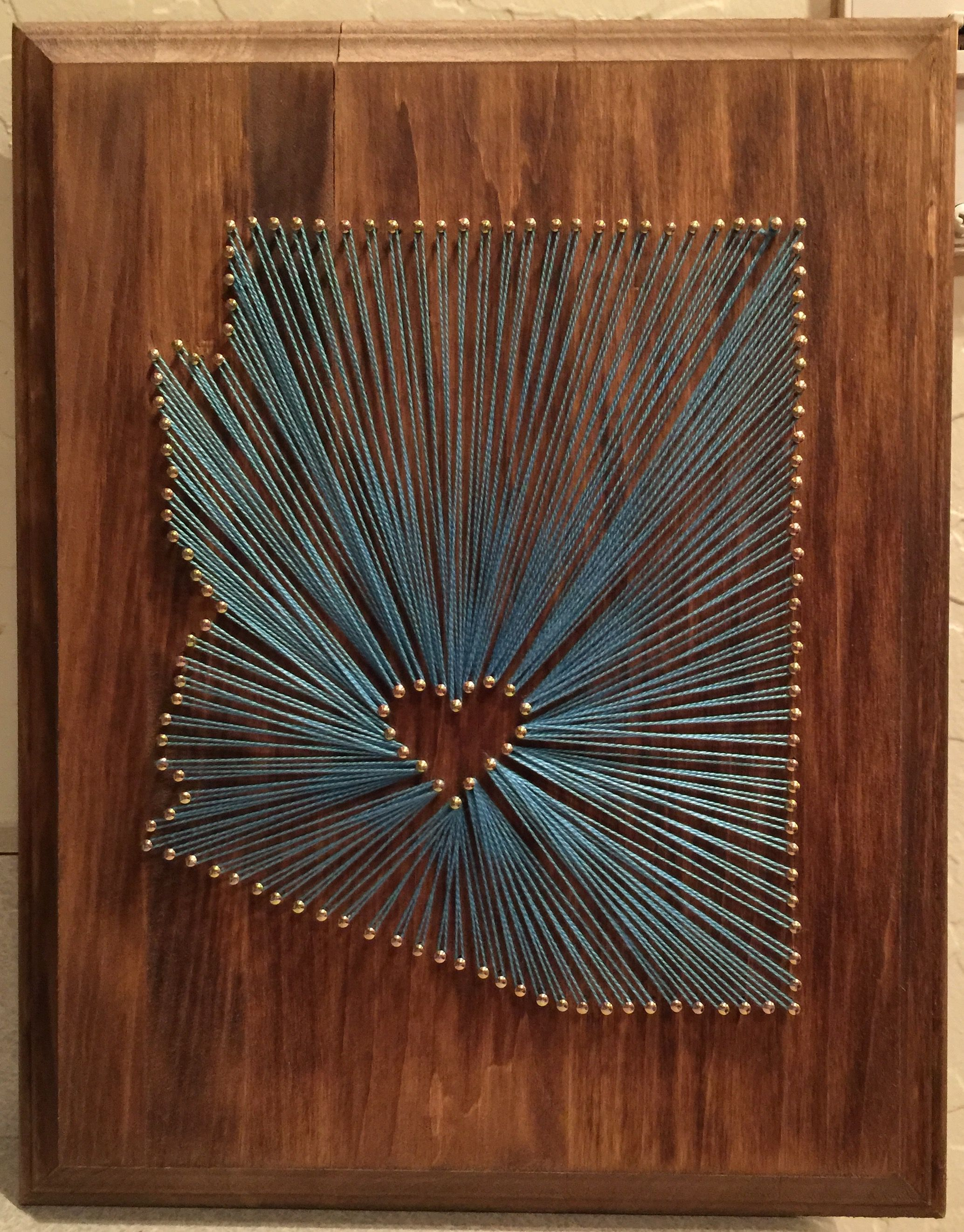 a780c7007 Arizona string art (made for a friend) Stained wood (purchased board from  Michaels) Used linoleum nails and embroidery thread