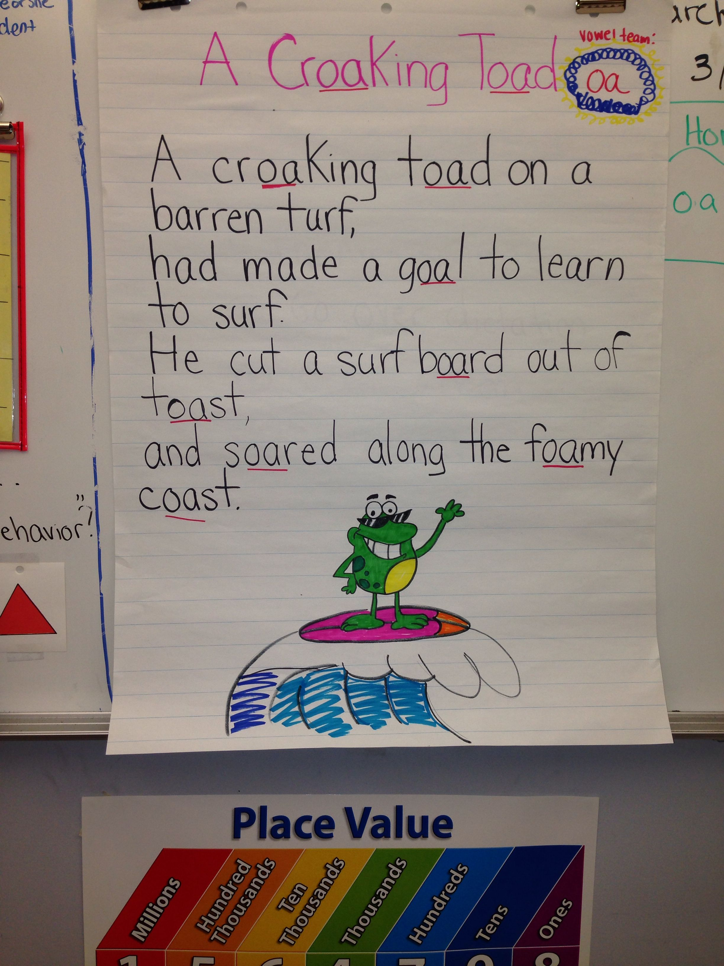 Cute Poem For Vowel Team Oa