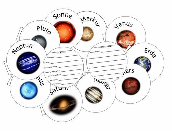 Diese kleinen Planetenbüchlein können von den Kinder ausgefüllt werden, dabei entsteht ein Steckbrief des Planeten. Dazu kann man ihnen Wis...