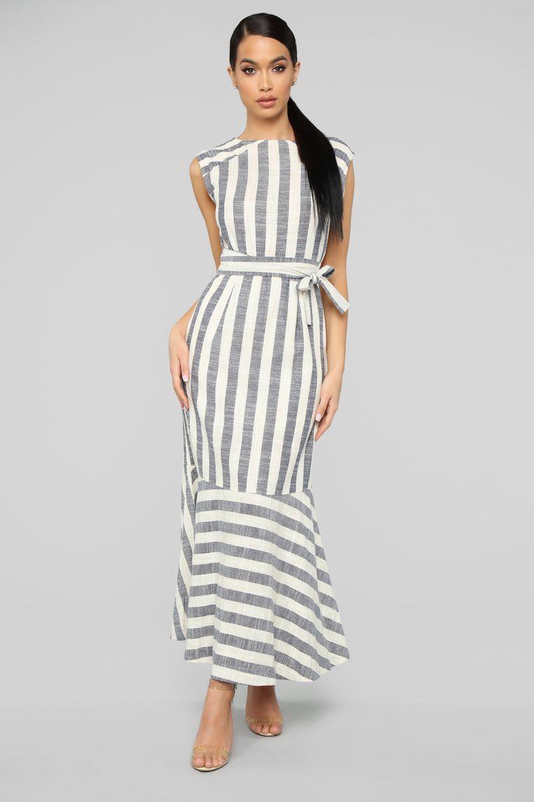 Underneath It all Striped Maxi Dress (With
