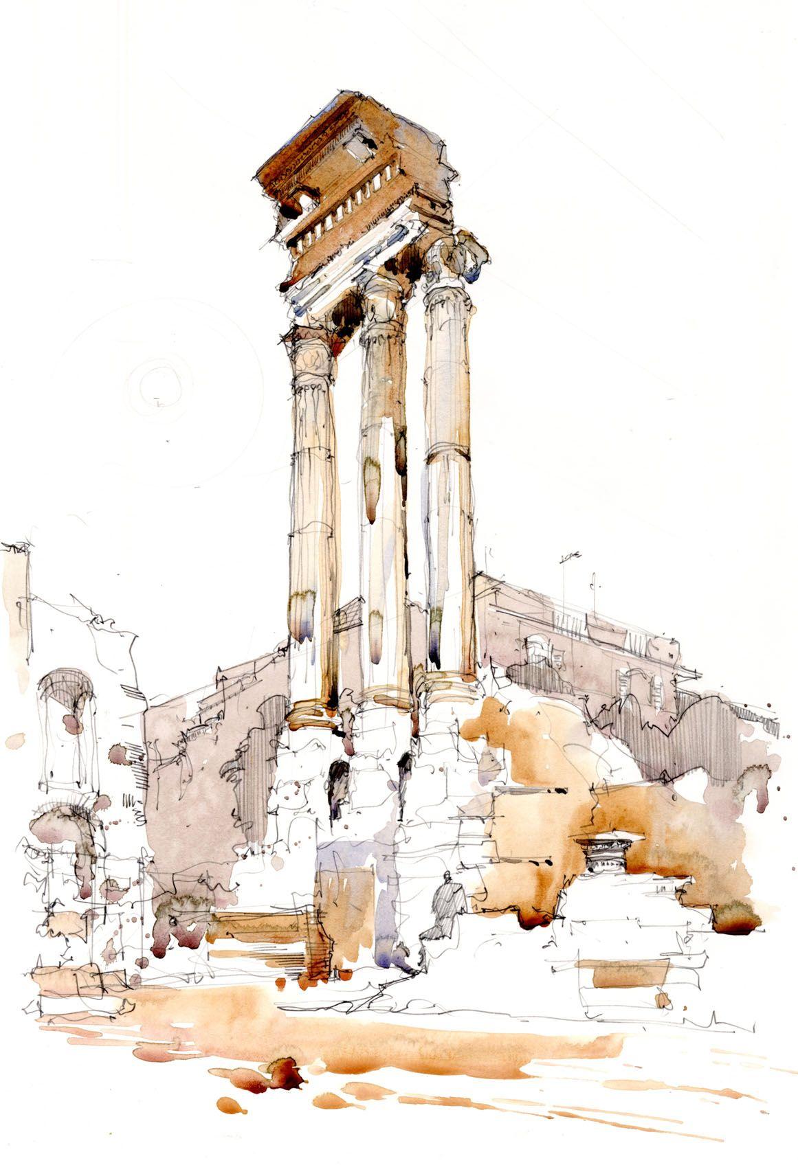 Disegno E Pittura Forum.Watercolour Sketch Of Column In The Forum Rome Italy