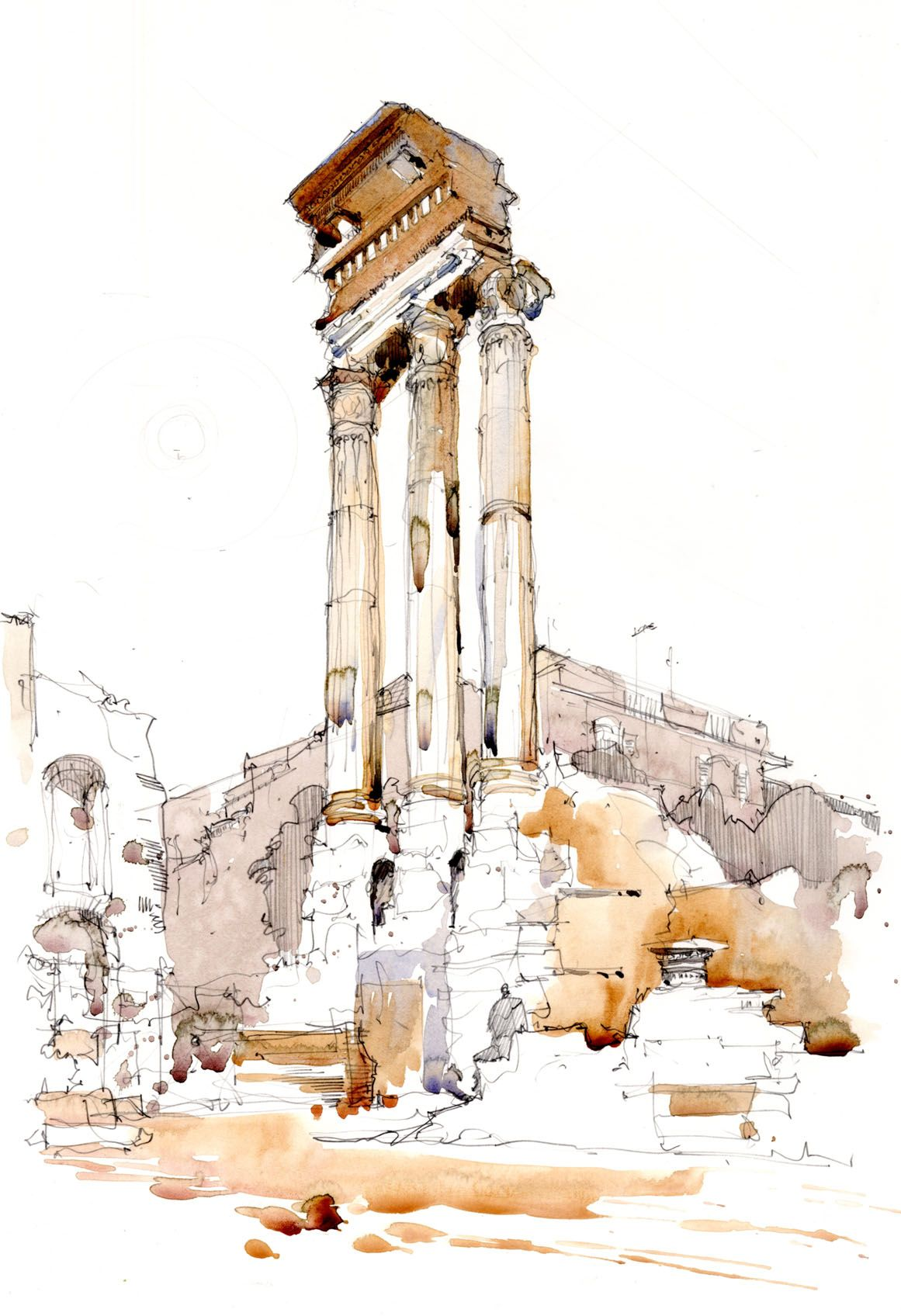 Watercolour Sketch Of Column In The Forum Rome Italy Www