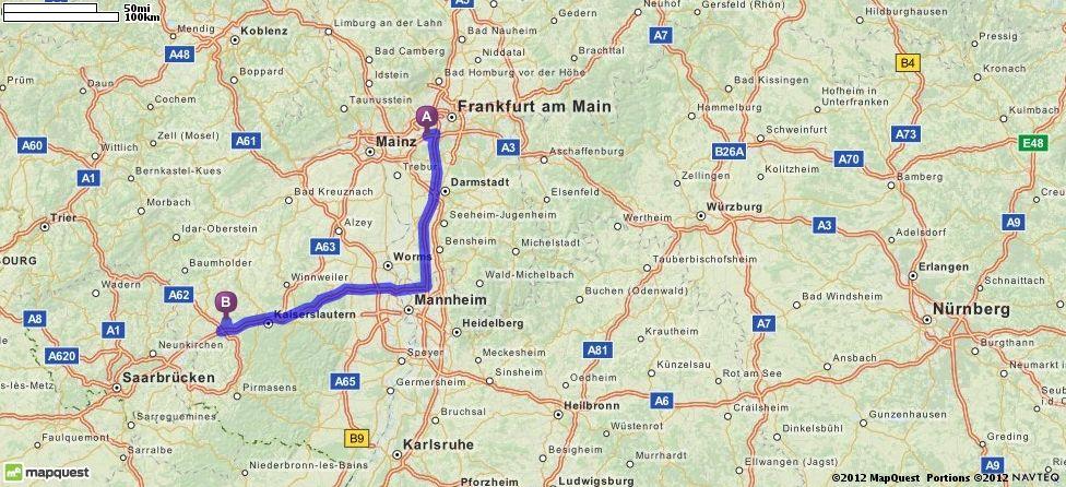 Driving Directions from Flughafen Frankfurt in Frankfurt Am ...