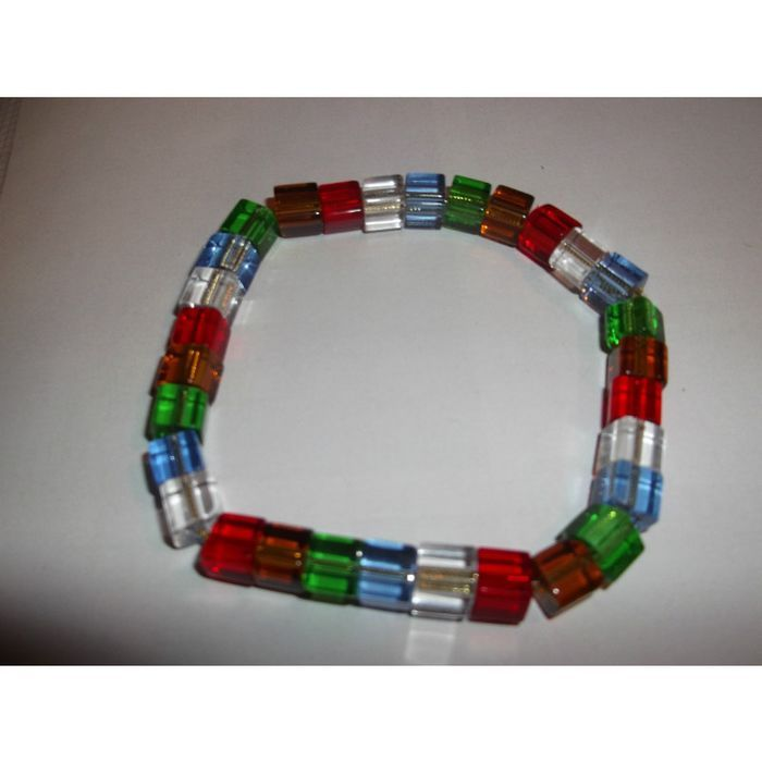 Multi-coloured cube elasticated bracelet handmade Listing in the Bracelets,Women,Artisan & Hand Crafted,Jewellery & Watches Category on eBid United Kingdom | 147698793