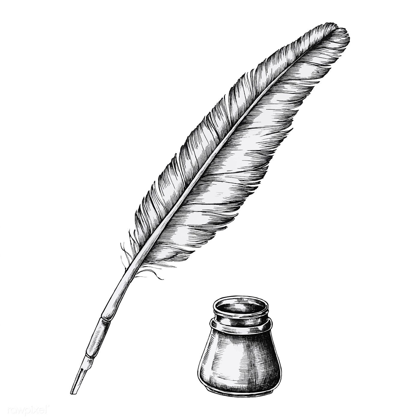 Download Premium Vector Of Hand Drawn Quill Pen With An
