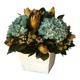 "Preserved blue hydrangea and baby pods in a weathered planter.   Product: Perserved floral arrangementConstruction Material: Preserved hydrangeas Color: Blue and yellowFeatures: Planter includedDimensions: 15"" H x 15"" Diameter"