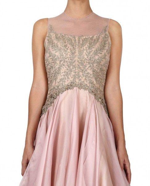 Panache Wedding Gowns: Pink Gown In Organza Silk In 2020