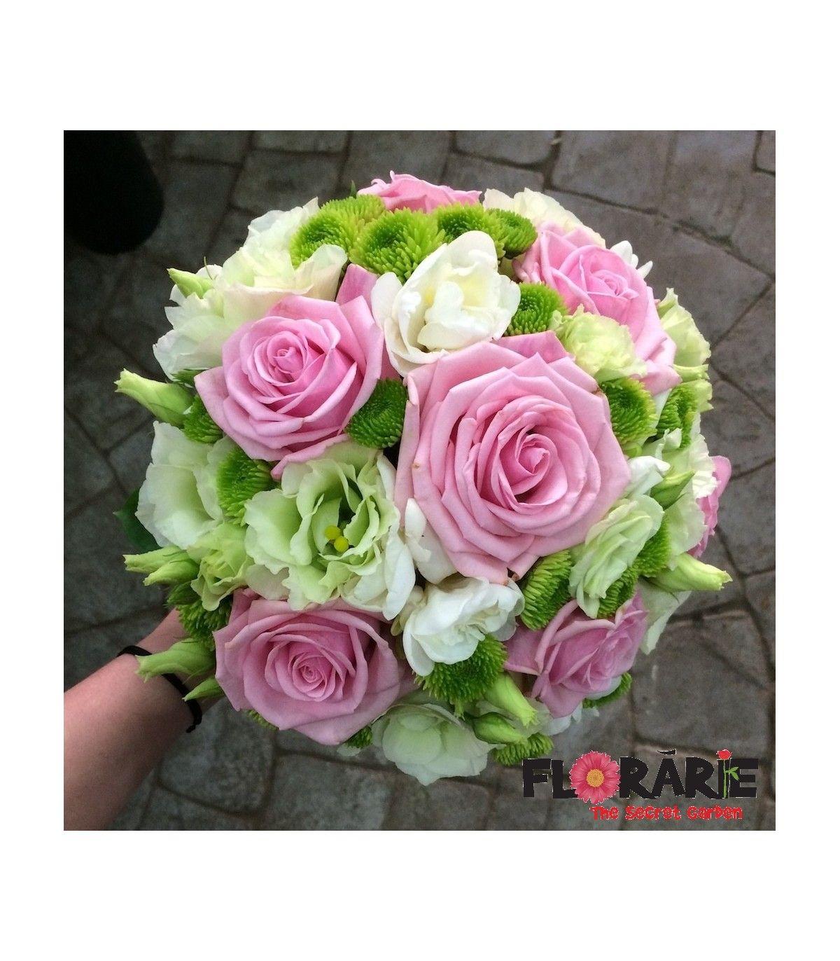 Buchet Cununie Trandafiri Roz Si Santini Floral Rose Wedding