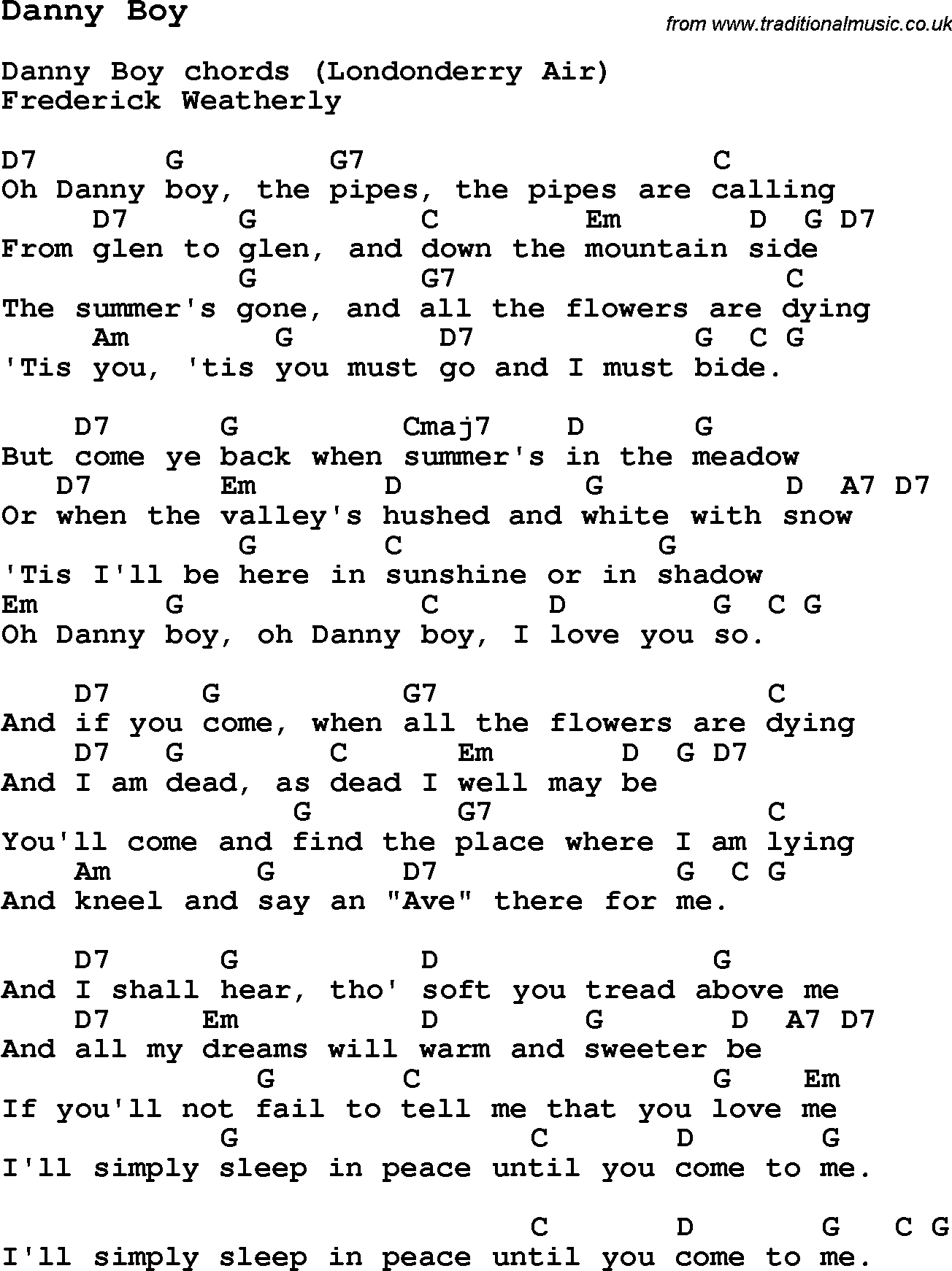 Traditional Song Danny Boy With Chords Tabs And Lyrics Music In