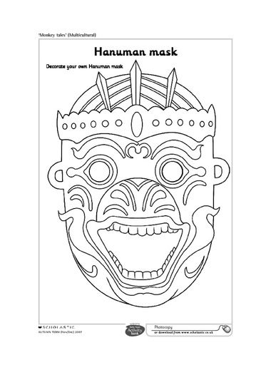 Hanuman Mask Monkey King Thailand Kids Adult Coloring Books