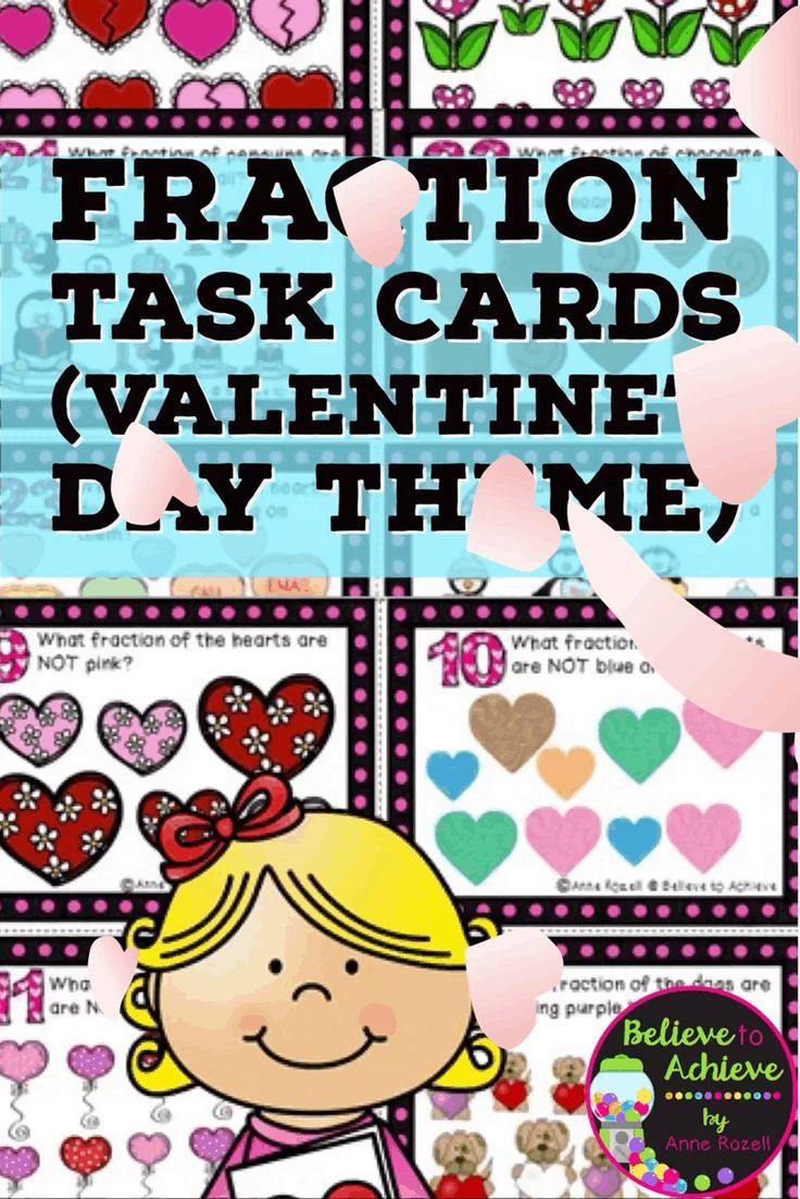 Fraction Task Cards (Parts of a Set)- Valentine\'s Day theme ...