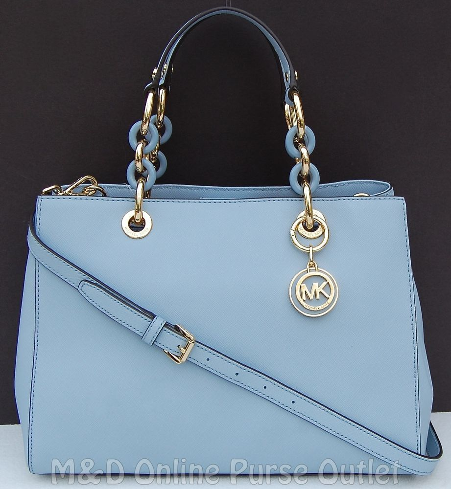 8778f8126b7c7 NWT NEW Michael Kors Saffiano Leather Medium Cynthia NS Satchel Purse ~Pale  Blue  MichaelKors  Satchel