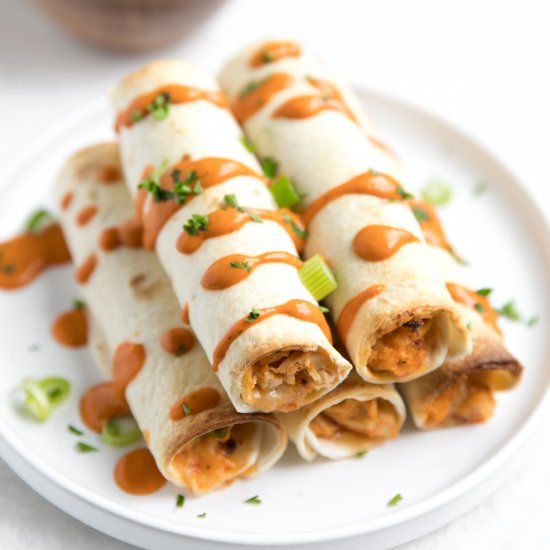 70 Drool Worthy Ground Beef Recipes That Will Make You: Delicious Baked Buffalo Chicken And Cauliflower Taquitos
