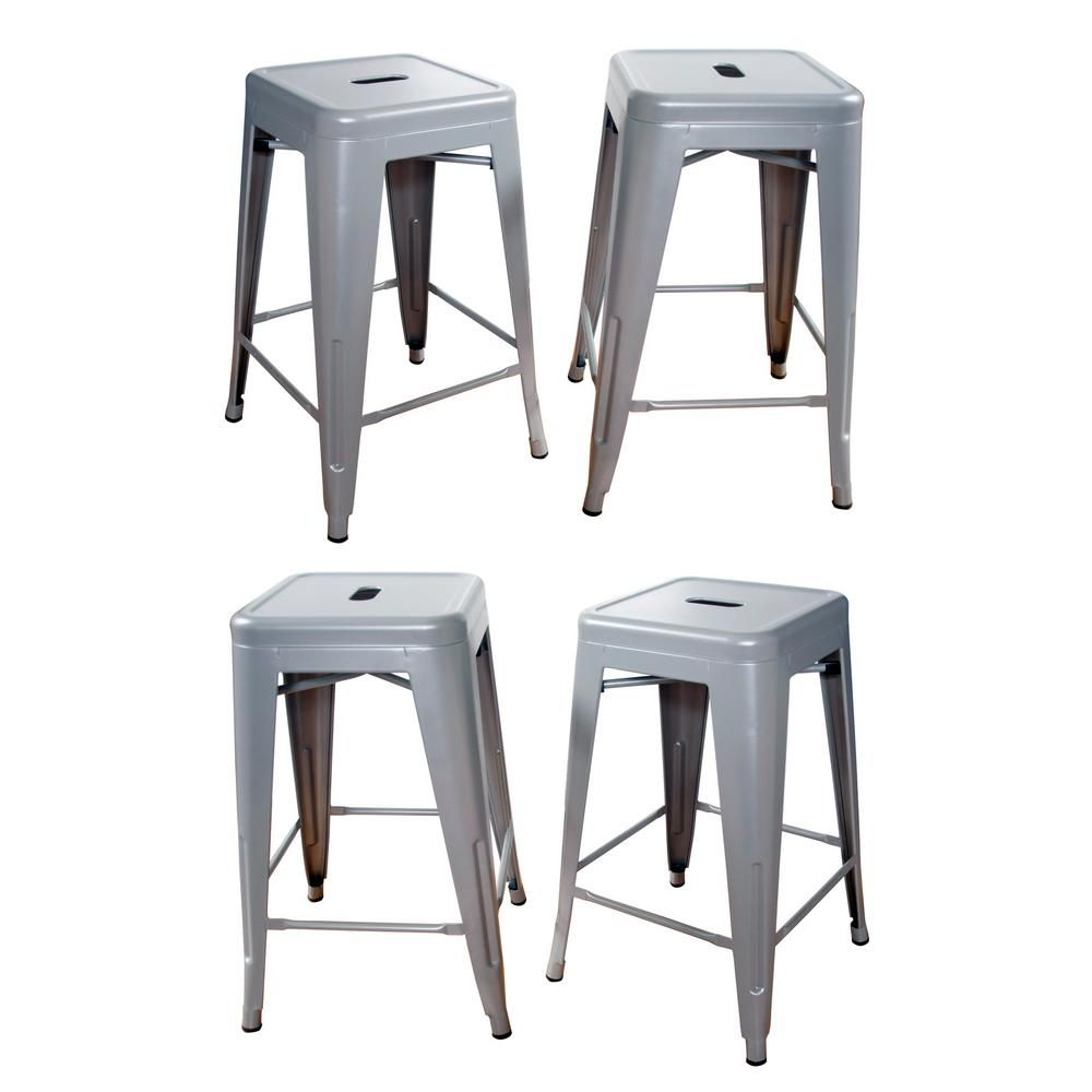 Amerihome Loft Style 24 In Stackable Metal Bar Stool In Silver