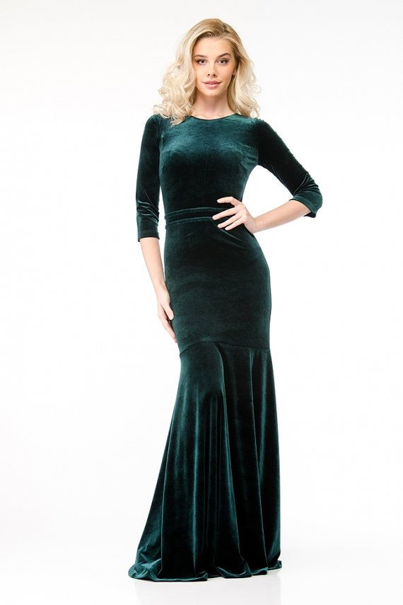 Green Velvet Maxi Dress.Trendy Party Gown Floor by FashionDress8 ... 4344dd394b1a
