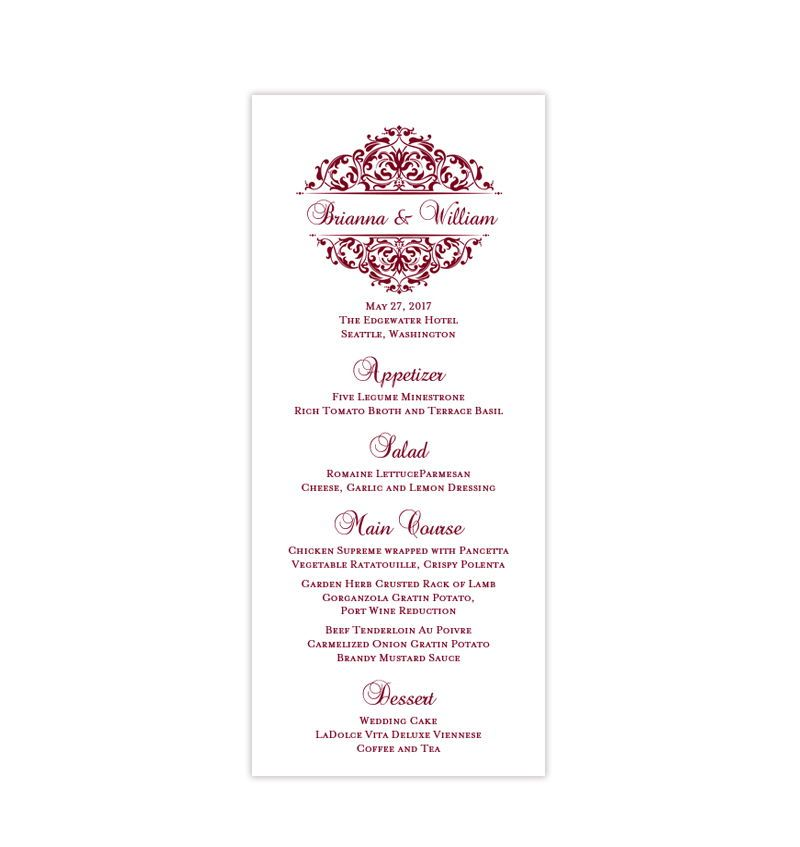 wedding menu card grace burgundy cranberry wine tea length in 2018