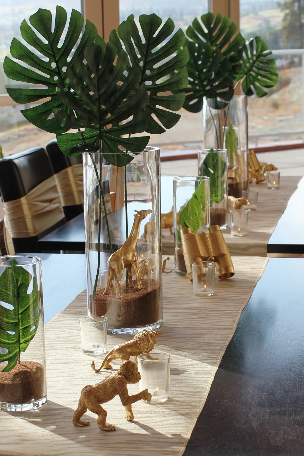 A close up of our tablescape at the safari baby shower