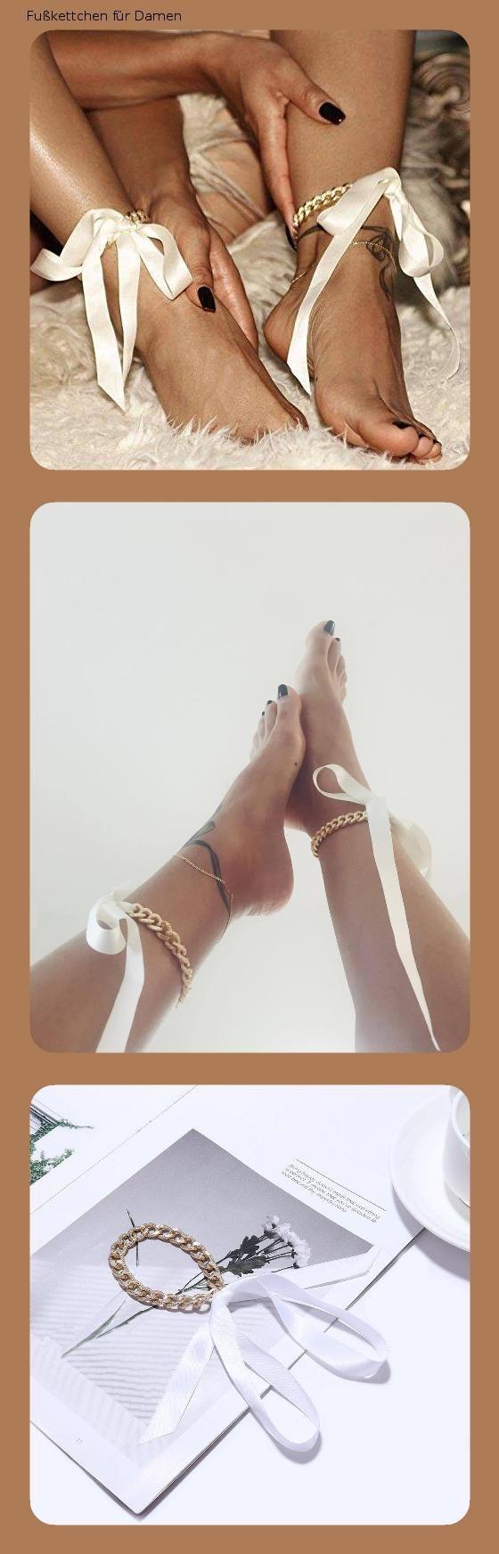 Kercisbeauty Gold Fußkettchen mit Band für High Heels Schuhe