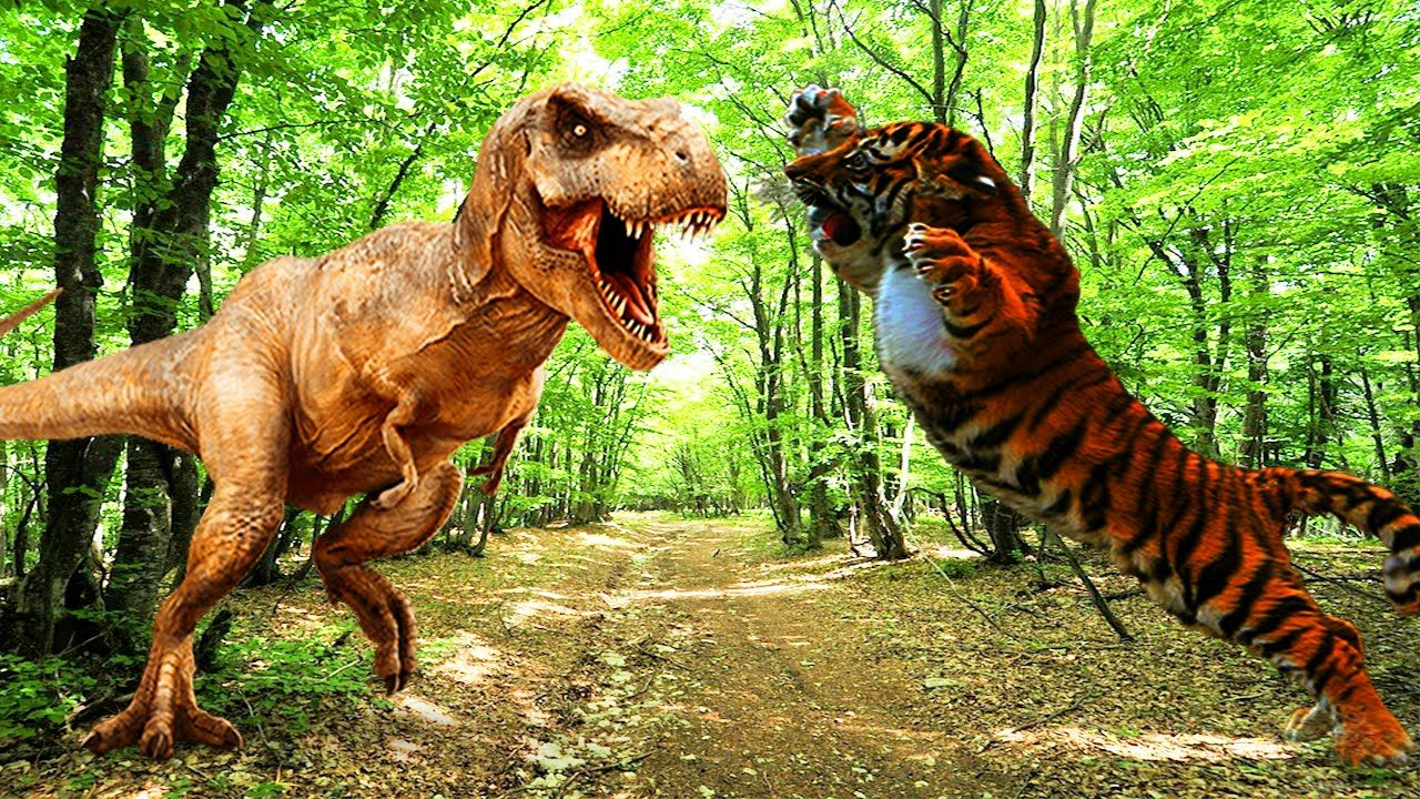 tiger vs dinosaurs fighting lion elephant bear cheetah gorilla