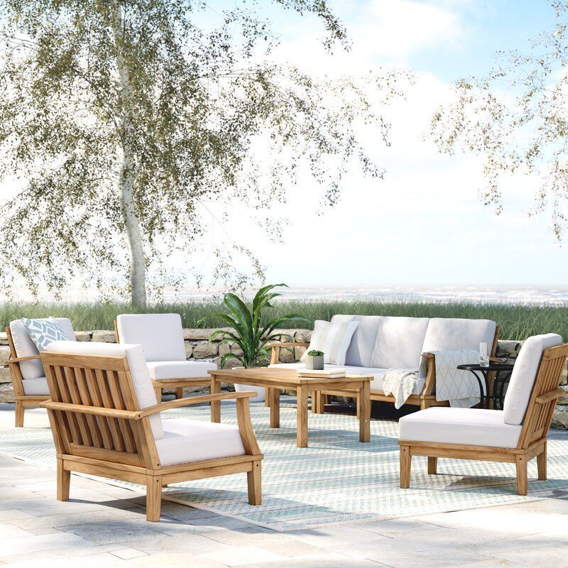 Elaina 8 Piece Teak Sectional Seating Group With Cushions Teak Outdoor Furniture Teak Patio Furniture Patio Furnishings