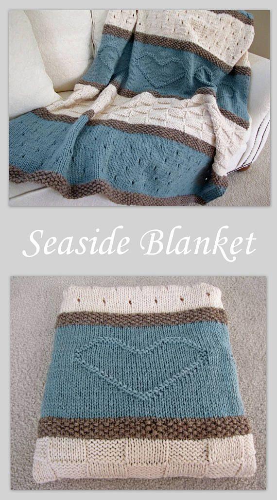 Knit Blanket Pattern, Knit Throw Pattern, Knit Heart Blanket ...