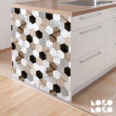 Azulejos Hexagonales Cerámica y Madera | Vinilos | Pinterest