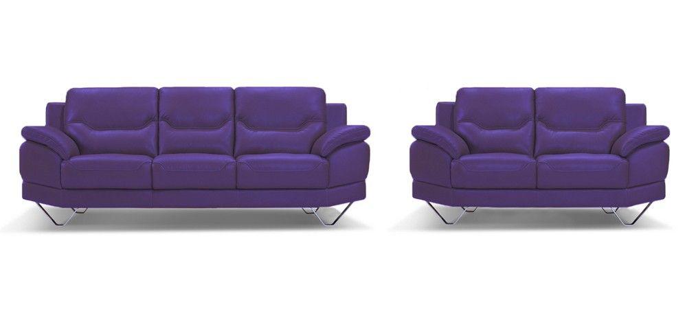 Inspiration 3 2 Seater Indigo Purple Leather Sofa Set Sofas Paars