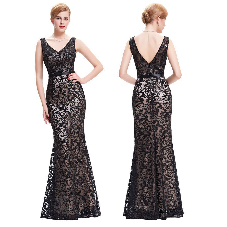 Vintage lace womens sequins formal long evening party gown