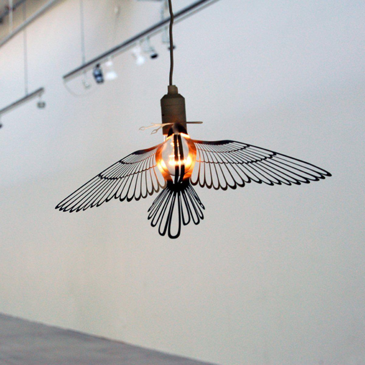 cache lampe oiseau en metal par hommin couleur noir handy light pinterest luminaire. Black Bedroom Furniture Sets. Home Design Ideas