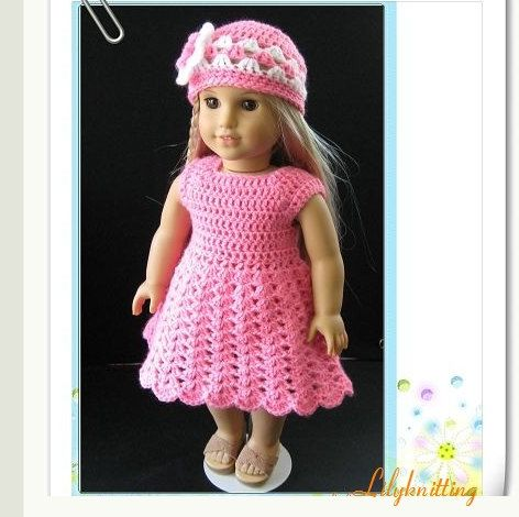 PATTERN in PDF-- Crocheted doll dress for American Girl, Gotz or ...