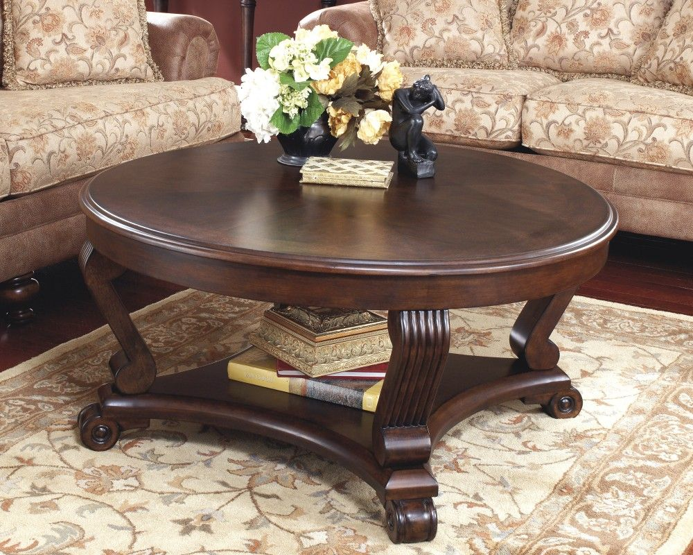 Brookfield round cocktail table coffee table wood