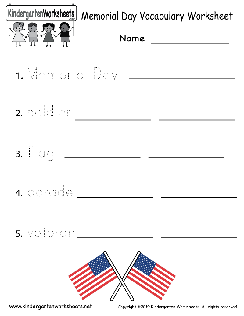 Kindergarten Memorial Day Vocabulary Worksheet Printable