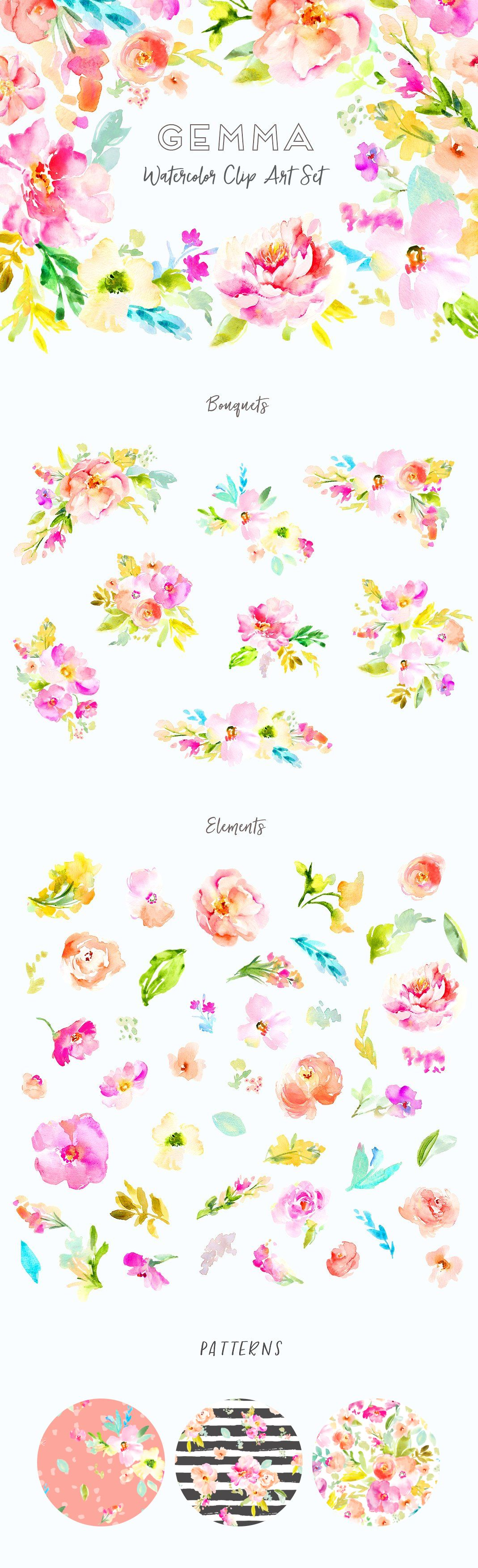 This Adorable Watercolor Floral Artwork is Ready for Your DIY Projects. This Watercolor Clip Art Set includes Various Floral Illustration Clip Art Elements. angiemakes.com