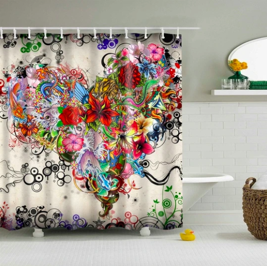 Tattoo Flowers Fabric Shower Curtain