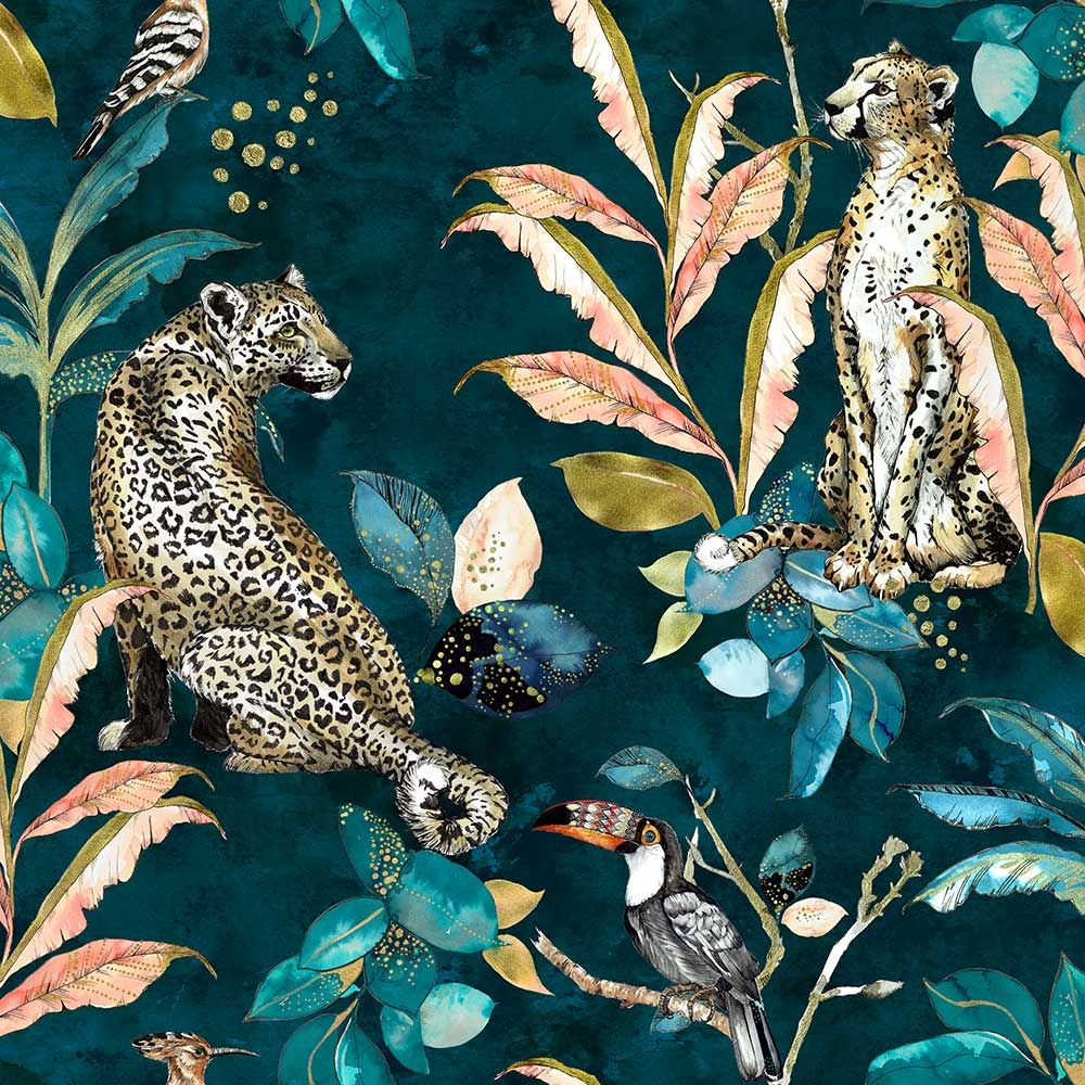 Photo of Cheetah by Graduate Collection – Teal – Wallpaper : Wallpaper Direct