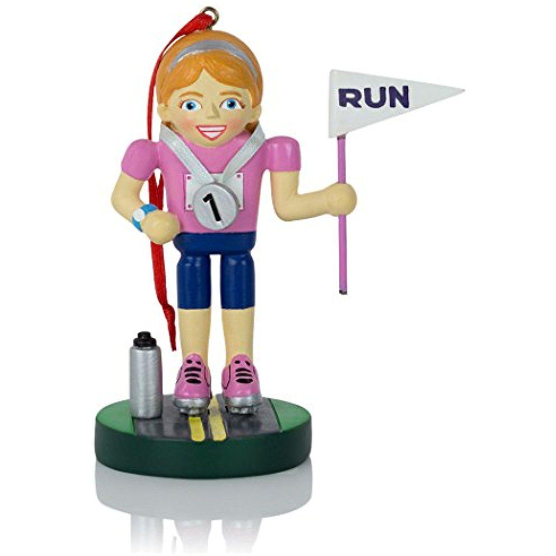 Runner and marathoner female nutcracker resin christmas ornament