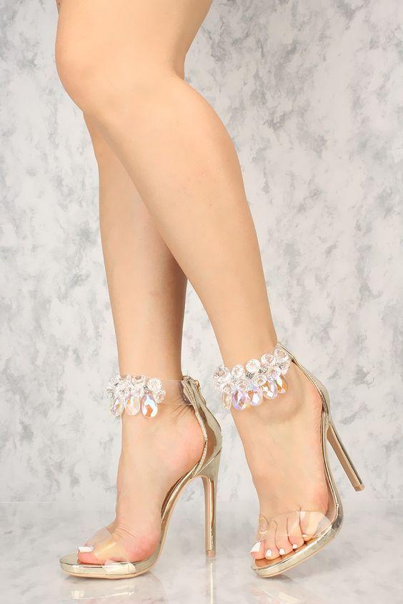 25a421c3f85 Sexy Gold Gemstone Ankle Strap Single Sole High Heels