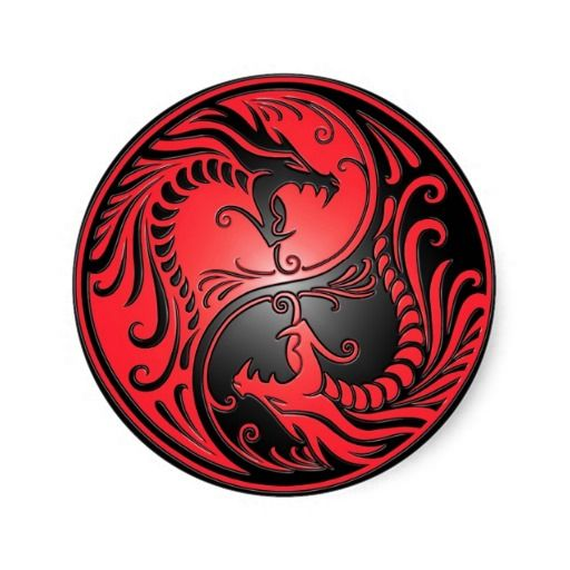 Yin Yang Dragons, red and black Classic Round Sticker ...