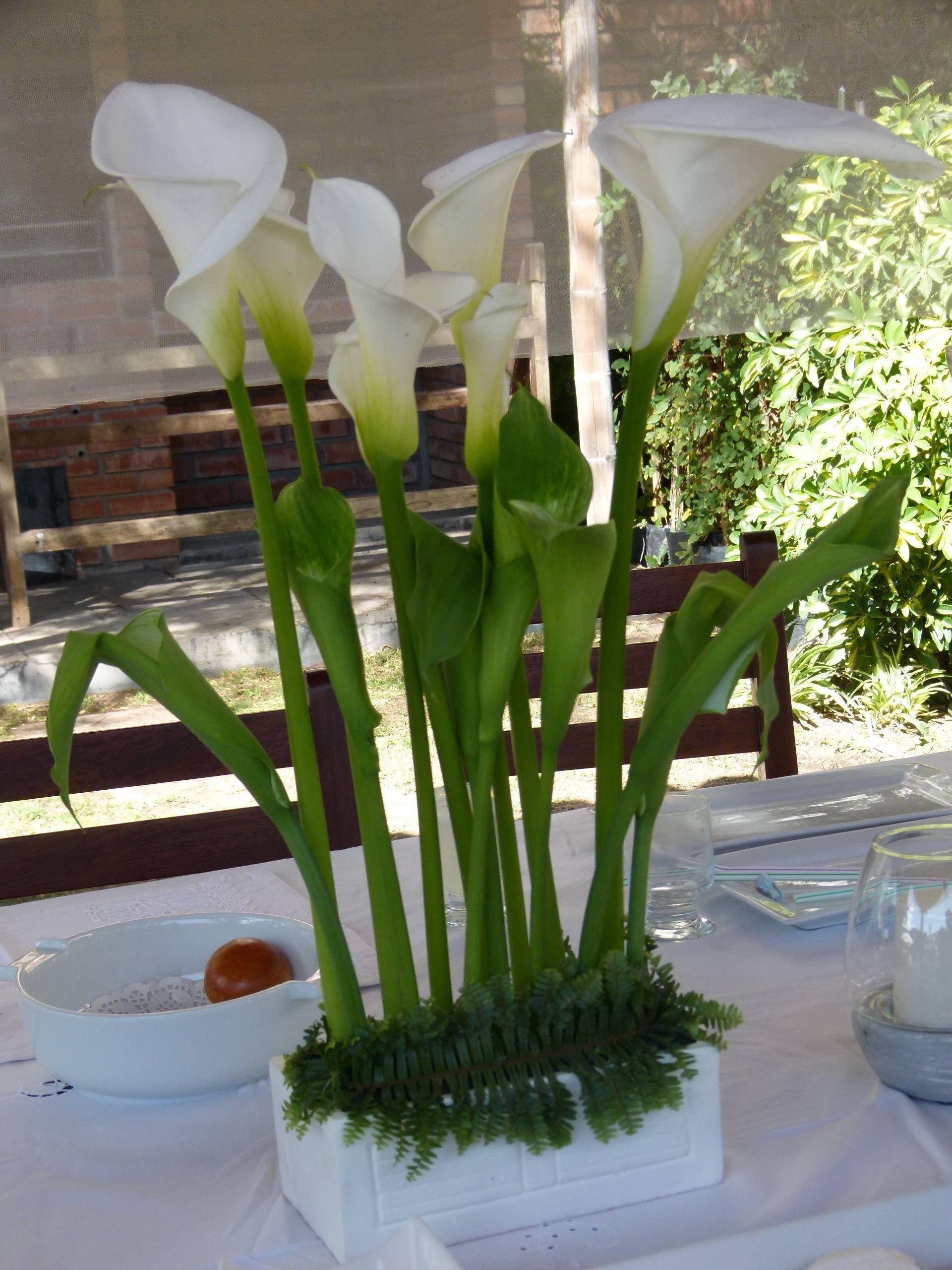 Arreglo floral primera comunion calas blancas y verdes de - Arreglo de jardines ...