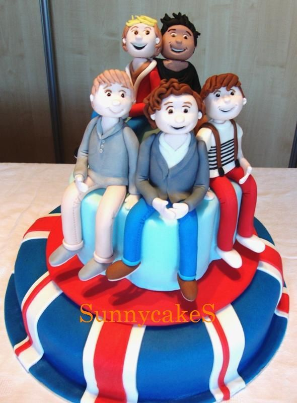 One Direction cake made with fondant. That looks nothing like them, lol