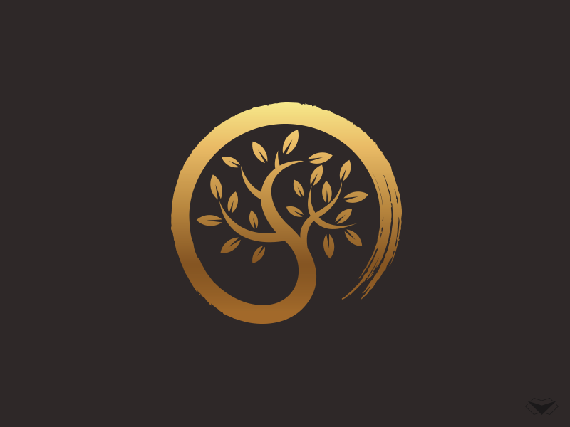 Zen Tree Logo By Visual Curve Zen Circle Circle Leafs Leaf Logotype Green Blue Logo Brush Tree Zen Japan Tree Logo Design Tree Logos Natural Logo