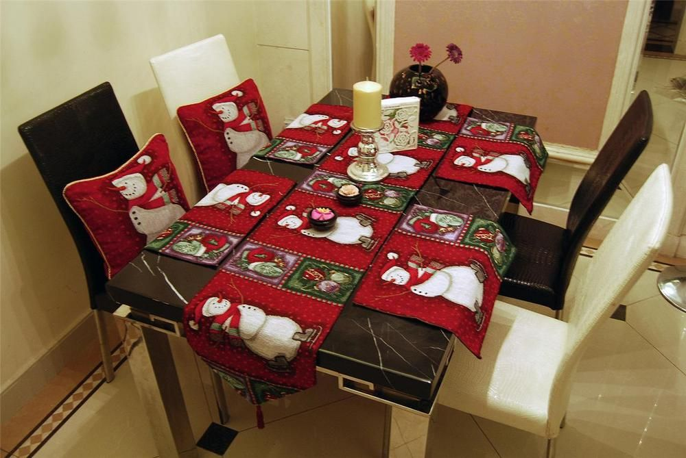 Exceptional SET VINTAGE RED CHRISTMAS SNOWMAN TAPESTRY CUSHION COVERS TABLE RUNNER  PLACEMATS