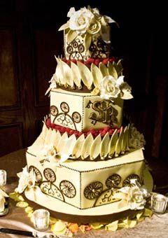 1920s Three Tier Retro Style Wedding Cake In Ivory And Gold Decorated With Leaf