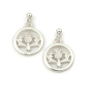 Scottish Thistle Silver Circle Earrings noKKM2GyPn