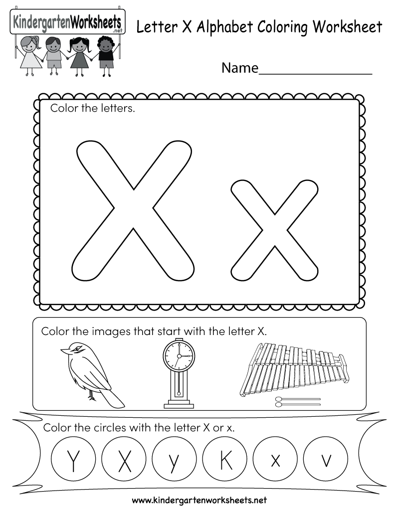 This is a coloring worksheet for letter X. Children can