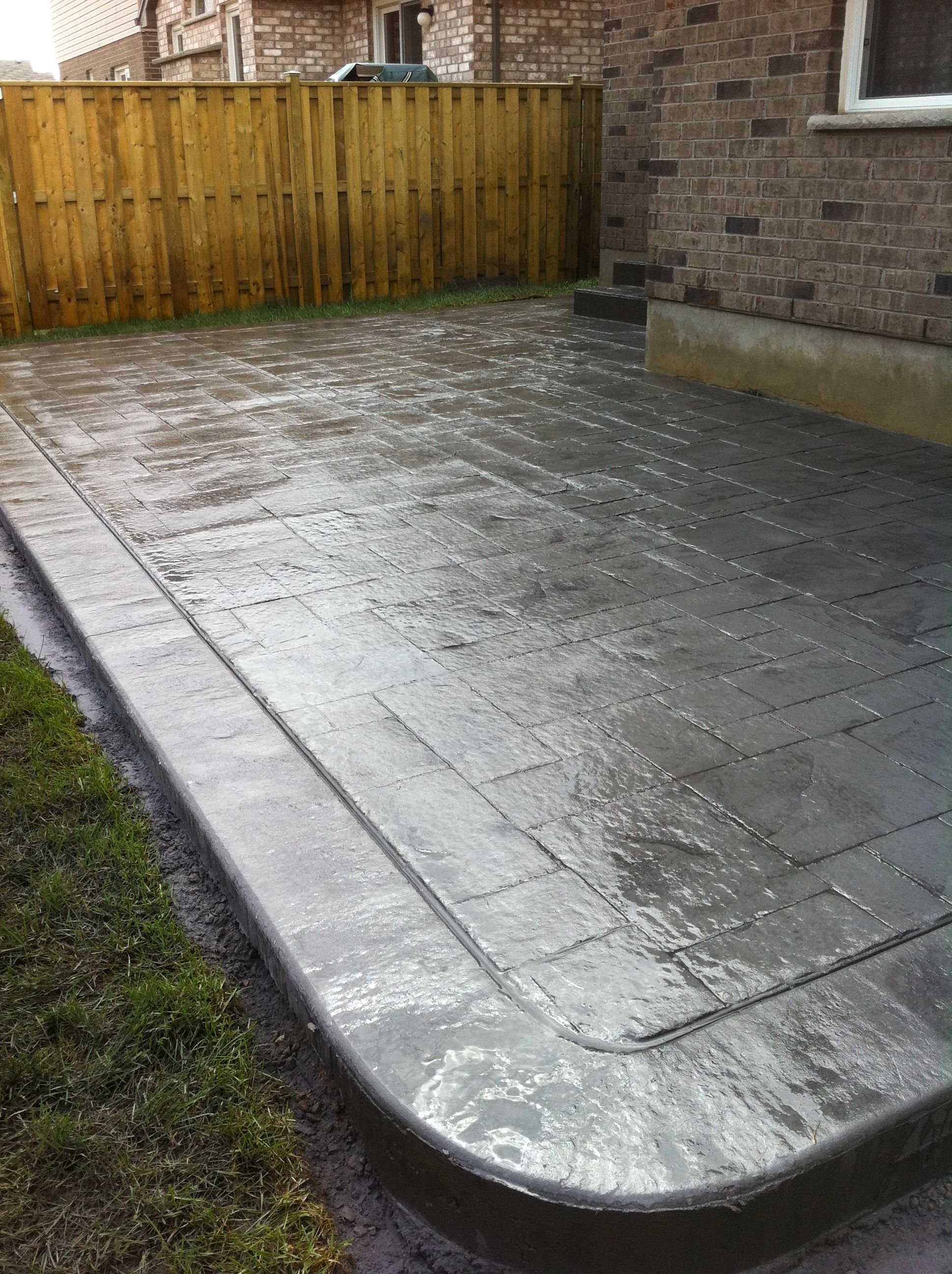 Grand Ashlar Slate Stamped Concrete Patio With Rough Cut Border In London  Ontario Patio Decks,