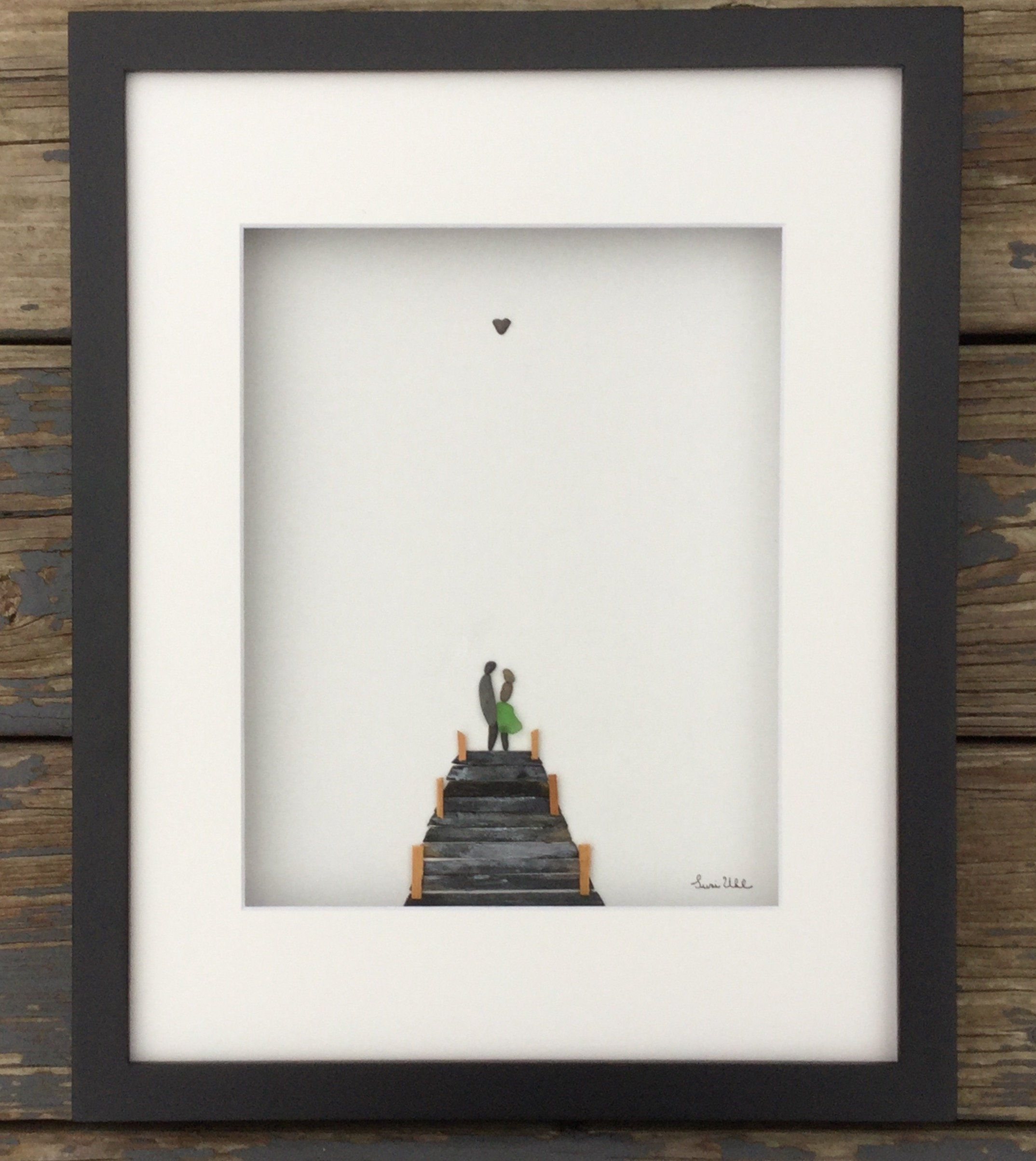 Pebble Art Couple On Boating Dock In Shadow Box Frame With Etsy Pebble Art Pebble Art Family Stone Pictures Pebble Art