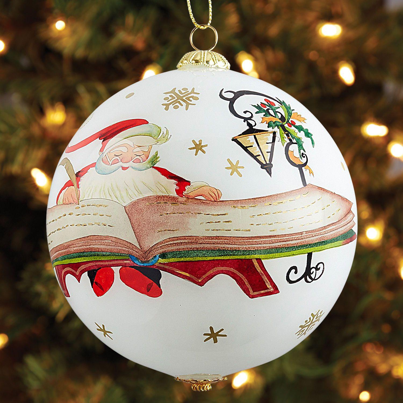 Li Bien Santa With List Ornament Handpainted Christmas Ornaments Christmas Ornaments Glass Christmas Ornaments